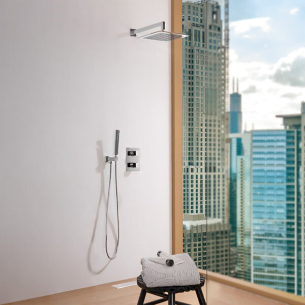 Dušikomplekt termostaadiga SQUARE, kroom/peegel inox, Noken