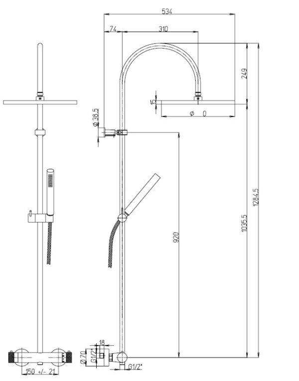 Dušikomplekt termostaadiga COX 1, kroom, Paini