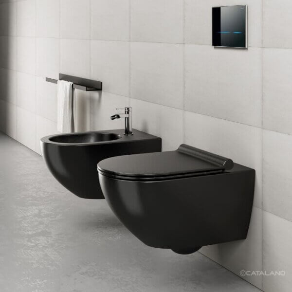 Seinapealne wc pott SFERA NF 54 (prill-lauaga), satiinmatt must Catalano