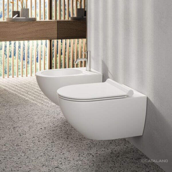 Seinapealne wc pott SFERA NF 54 (prill-lauaga), satiinmatt valge, Catalano