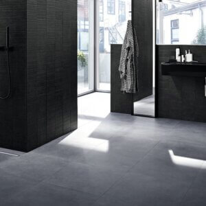 Duširenn CleanLine20, pikkus 300-900mm, harjatud teras / must pinnakate, GEBERIT