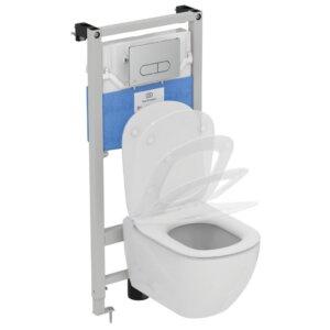 Wc komplekt (raam/loputuspaak PROSYS + loputusplaat OLEAS + wc pott TESI Aquablade) Ideal Standard