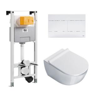 Wc komplekt (raam/loputuspaak OLI120 PLUS + loputusplaat SLIM + wc pott SFERA NF 54)